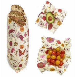 Bee's Wrap 3-pak Vegansk, Small, Medium, Large Startpakke Madpapir - Meadow Magic